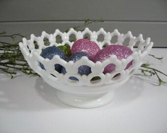 Milk Glass Bowl, Doric Lace, Westmoreland, Wedding Milk Glass