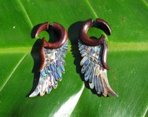 paua shell wing earrings with sono wood and 925 silver