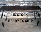 Desk, IN STOCK, reclaimed wood, hairpin legs, on sale, ready to ship