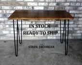 "Desk, hairpin legs, reclaimed wood, 39"" long 20"" wide 30"" high, computer desk, writing desk, mid century desk,"