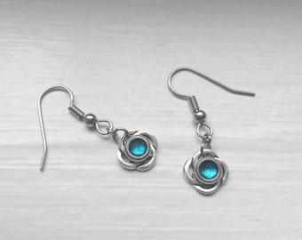 Aqua Earrings Dangle, Celtic Jewelry, Bridesmaid, Hypoallergenic Stainless Steel French Earring Hooks