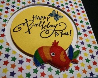 Toucan Happy Birthday Slider Card - Birthday Card - Kids Birthday Card - Slider Card - Happy Birthday Card