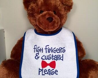 Doctor Who baby bib Tardis fish fingers custard bowtie