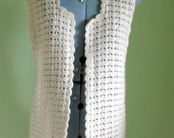 Vintage Crochet Sleeveless Waistcoat Jacket Cream Beige UK size 10 - 12
