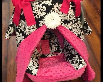 Black and white damask and hot pink minky Car seat canopy set with matching car seat cover, strap covers and head support