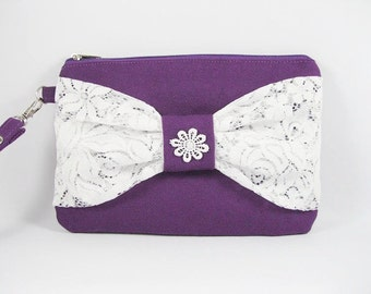 SUPER SALE - Eggplant Purple with White Lace Bow Clutch - Bridal Clutches, Bridesmaid Wristlet, Wedding Gift - Made To Order