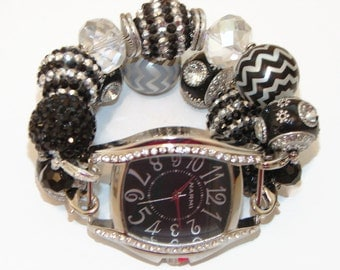Chunky Black and Silver Beaded Watch-Black Interchangeable Watch-Black and Silver Bracelet Watch-BeadsnTime -Unique Gift