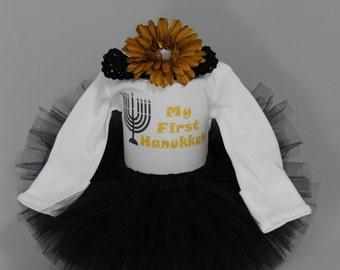 My First Hanukkah Outfit - Baby's 1st Hanukkah - Babys First Hanukkah - Baby Girls 1st Chanukah Tutu - Happy Hanukkah - *JH1519