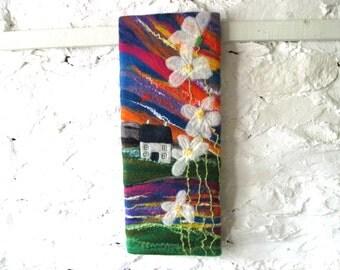 Original textile art, sunset picture, felt painting