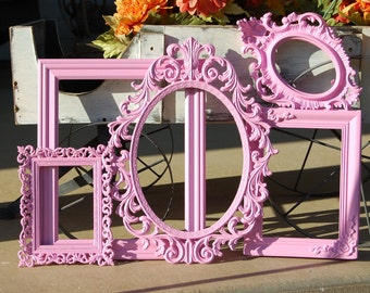 Set Of 5 Nursery Frames - Gallery Wall Frame Collage - Pink Shabby Chic Picture Frame Collection