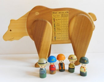 Hunting camp humor decor game w/bear eating hunter, game warden, park ranger, hiker, boy scout, ooak wood candy dispenser, sportsman game