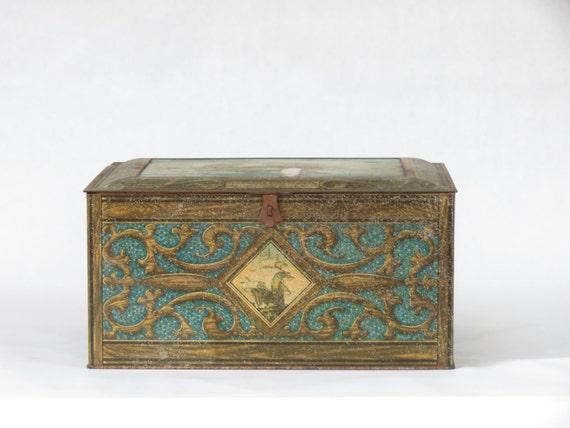 Decorative Metal Boxes With Lids : Vintage tin box decorative uss
