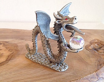 Vintage Dragon Serpent Pewter Fantasy Figurine