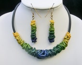Choker with earrings/ Gradient yellow blue Fimo wires wraped on rubber base chain with magnetic clasp/ earrings dangling on earhooks