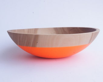 "Large 12"" Wooden Salad Bowl by Wind and Willow Home, Neon Orange  fruit bowl, salad bowl, pasta bowl, wedding gift"