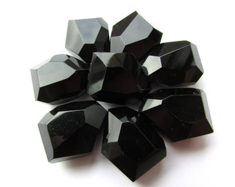 4 Black Nugget Beads 20 x 25 mm Large Black Glass Beads Craft Supply Jewelry Supplies