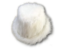 White Faux Fur Fluffy Fedora Hat Monster Festival Rave Hat New Years Furry White Party New Years Eve Dance Halloween Outfit Christmas Gift