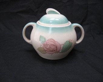 "Vtg Susie COOPER ""PATRICIA ROSE"" Green Burslem Handled Lidded Sugar Bowl"