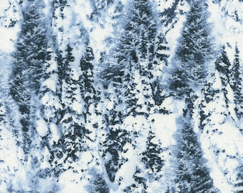 Timeless Treasures Fabric Snowy Pine Trees Quilting Sewing Crafting 100% Cotton