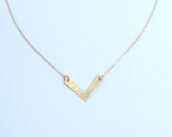 Petite Golden Chevron V Necklace