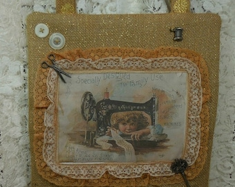 Wall Decor, sewing room, craft room, victorian image, vintage buttons, sewing machine, scissors, thread, ecs.