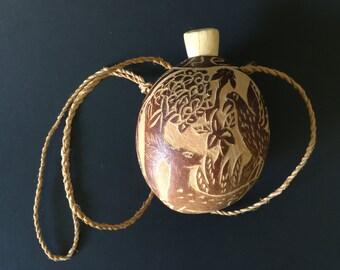 Vintage Decorative Hand Carved Gourd Bottle