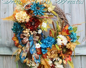 Deluxe Autumn Floral Wreath, Teal Rust Ivory and Gold Fall Sunflower Wreath XL, Wisteria Fall Floral, Large Door Wreath, Fall Decor