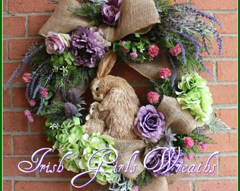 MADE To ORDER Lavender Bunny Rabbit Spring Wreath, mother & baby, Easter Floral Wreath, purple, heather, clover, Mother's Day Wreath -1 LEFT