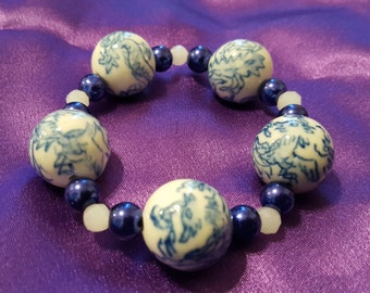 BRACELET: Beautiful Blue Pearl Beaded Stretch Bracelet with Large Round Asian Inspired Focal Beads
