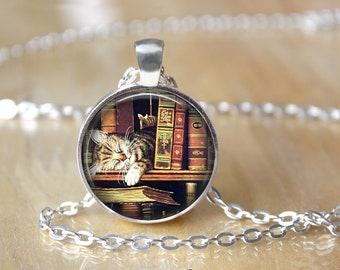 Mini Library Necklace - Miniature Library Necklace - Book Necklace - Literary Gifts - Book Lover Gift - Librarian Gift L44