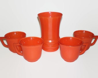 5 Piece Orange Glassware Set, 4 Vintage Orange Glass Coffee Cups and 1 Tumbler, Orange Vase, Glass Mugs, Orange Tea Cups
