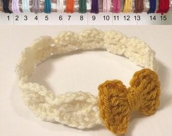 Knit Baby Bow Headband - Crochet Bow Headband - Baby Headband - Mustard Baby Headband