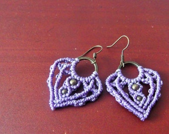 Macrame lavender elven earrings