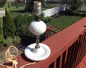 Vintage white milk glass lamp