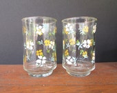 Yellow Flower Juice Glasses Vintage Kitchen Kitsch Drinking Glasses Libby