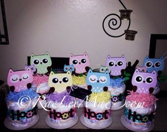 Owl Diaper cake Minis - Custom - Owl Baby shower centerpieces/Birthday- owl theme party decorations