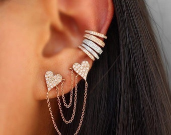Ear cuff cz and sterling with vermeil 14K one gold or rose gold double stone cuff