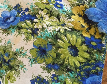 """Chintz Tablecloth / VintageFloral Fabric Tablecloth 51"""" x 69"""" for Holidays, Table Setting, Tea Party, Summer Party, Etc."""