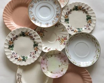 Mismatched / Vintage Floral China Plates for Plate Wall Hanging, or Serving at Showers, Tea Parties, Luncheons, etc.