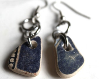 blue beach pottery earrings bohemian jewelry statement jewellery sea china mermaid tears