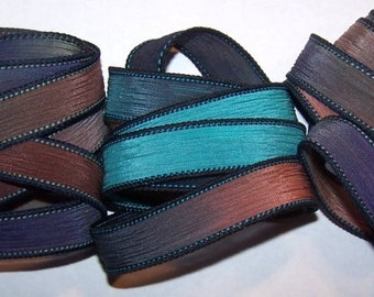 3 Pack Special Sale/Silk Ribbons/Hand Dyed/Wrist Wraps/Sassy Silks/Ready to Ship/ See Description for Details/101-0372