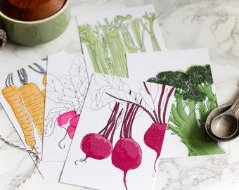 Farmers Market Art Postcard Prints - Set of Five