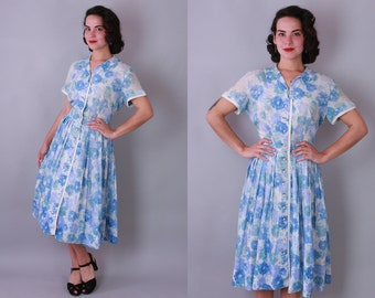 1950s Cornflower dress | vintage 50s blue and turquoise floral print shirtwaist day dress | large