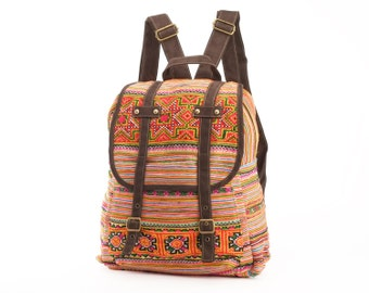 Hmong Embroidered Backpack Purse Ethnic Cross-stitched Boutique Bohemian Bag