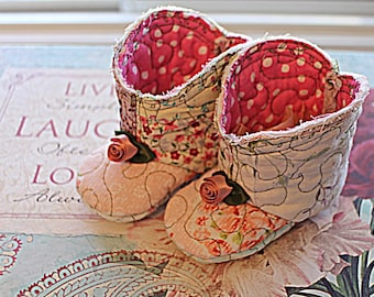 Crazy Quilt Baby Booties Quilted Infant Boots Shabby Boho Tattered 3 to 6  Month Crib Shoes