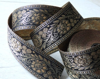 Indian trim in black, tan and gold - TWO yds. Indian sari border trim with floral pattern. 38mm Indian sari ribbon, black and gold sari trim