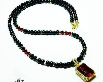 "Men's ""Quan"" Ruby Jewel Pendant and Black Onyx Necklace"