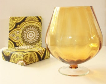 Mid Century Large Amber Brandy Balloon glass vase