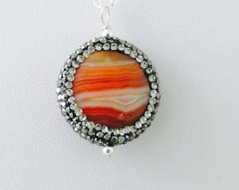 Red Agate Necklace in Sterling - Silver Pave Crystal Necklace - Beaded Agate Necklace