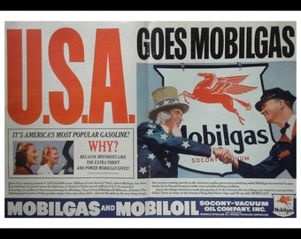 Mobilgas Vintage Ad 1938 WWII 'USA goes Mobilgas' Uncle Sam shakes Service Station Attndt's Hand.  2 page ad.  Ready for Framing.